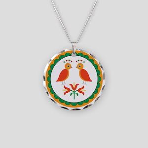 Double Distlefink Necklace Circle Charm