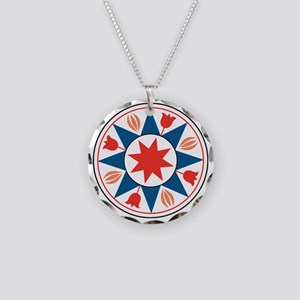 Eight Pointed Star Necklace Circle Charm