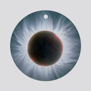 Total solar eclipse with corona Round Ornament