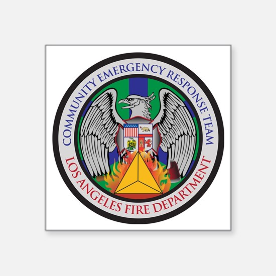 """LAFD-CERT-LA Logo - no whit Square Sticker 3"""" x 3"""""""