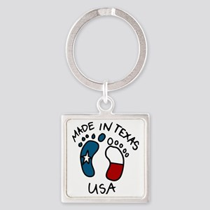 Made In Texas Square Keychain