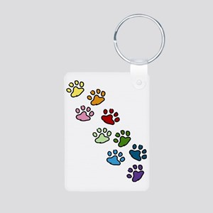 Paw Prints Aluminum Photo Keychain