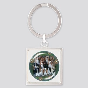 Cavalier King Charles Spaniel Grou Square Keychain