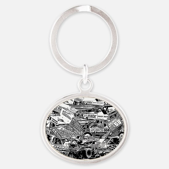 John Lund Collage Oval Keychain