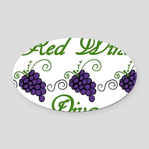 Red Wine Diva Oval Car Magnet