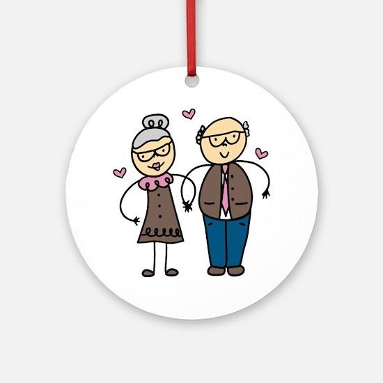 Elderly Couple Round Ornament