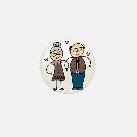 Elderly Couple Mini Button