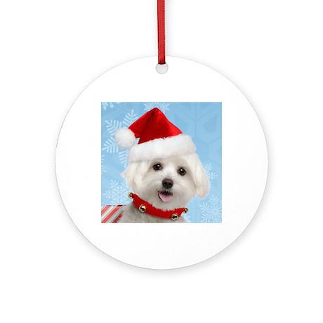 Maltese Puppy Christmas Round Ornament