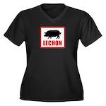 Lechon Women's Plus Size V-Neck Dark T-Shirt