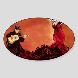 Flamenco Dancer and Guitarist Sticker (Oval)