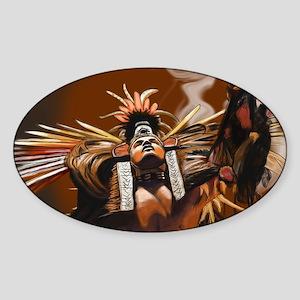 Aztec Dancer - Man Sticker (Oval)