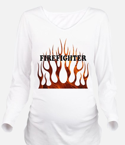 Firefighter Tribal Fire Long Sleeve Maternity T-Sh