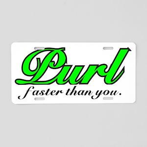 Purl faster  Neon Green Aluminum License Plate