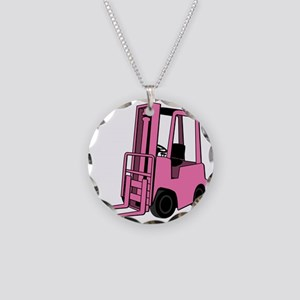 Pink Forklift Necklace Circle Charm