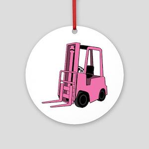 Pink Forklift Round Ornament