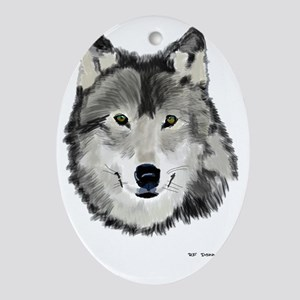 Timber wolf Oval Ornament