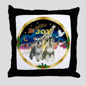 JoyWreath-2Schnauzers Throw Pillow