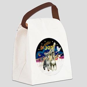 XSunrise+Santa-2 Schnauzers Canvas Lunch Bag