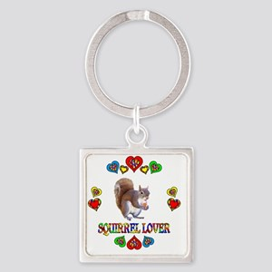 Squirrel Lover Square Keychain