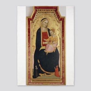 Antique Painting of Madonna and Child 5'x7'Area Ru