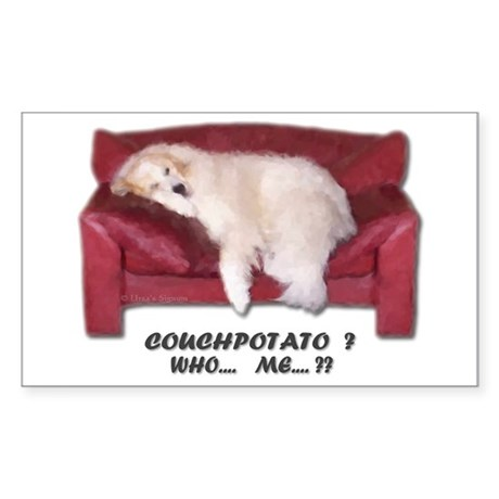 Great Pyrenees Couch Potato Who Me ? Sticker (Rect
