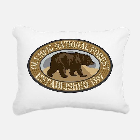Olympic Brown Bear Badge Rectangular Canvas Pillow