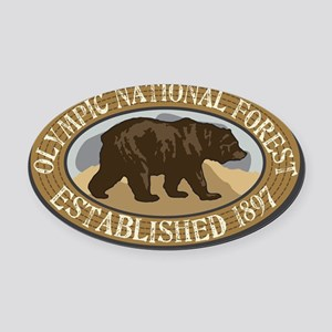 Olympic Brown Bear Badge Oval Car Magnet