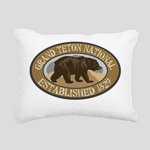 Grand Teton Brown Bear B Rectangular Canvas Pillow
