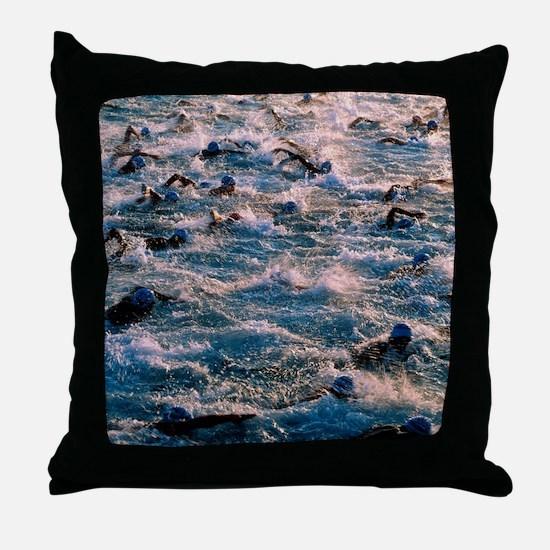 Triathlon swimmers Throw Pillow