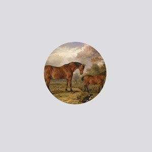 Vintage Painting of Horses on the Farm Mini Button