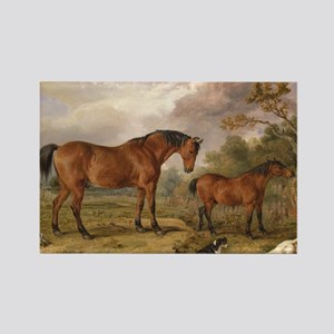 Vintage Painting of Horses on the Rectangle Magnet