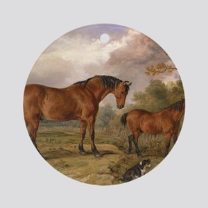 Vintage Painting of Horses on the F Round Ornament