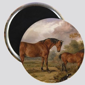 Vintage Painting of Horses on the Farm Magnet