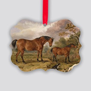 Vintage Painting of Horses on the Picture Ornament
