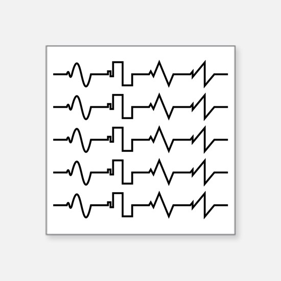"HeartzBeat EKG [BLACK] Square Sticker 3"" x 3"""