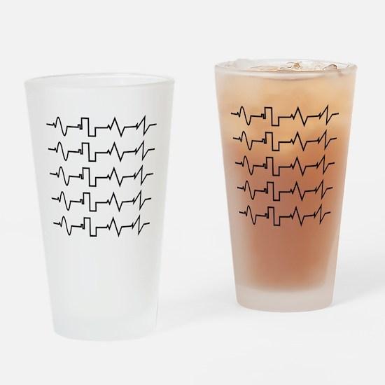 HeartzBeat EKG [BLACK] Drinking Glass