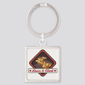 Lewis  Clark Pop-Moose Patch Square Keychain