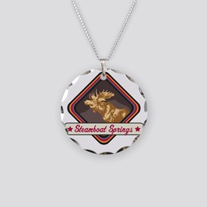 Steamboat Springs Pop-Moose  Necklace Circle Charm