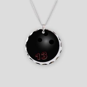 Black 13 Necklace Circle Charm