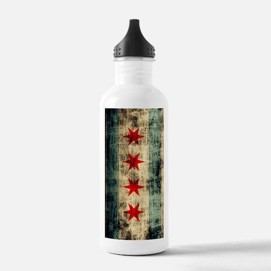 Chicago Flag Grunge Ga Water Bottle
