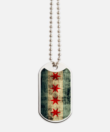 Chicago Flag Grunge Galaxy Note Dog Tags
