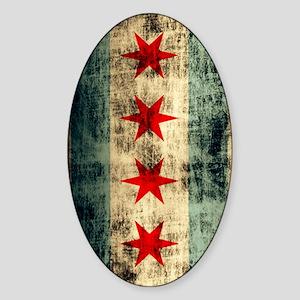 Chicago Flag Grunge Galaxy Note Sticker (Oval)
