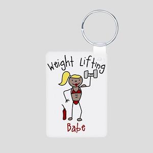 Weight Lifting Babe Aluminum Photo Keychain