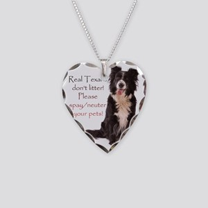 Real Texans dont litter! Necklace Heart Charm