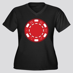 Red Poker Ch Women's Plus Size Dark V-Neck T-Shirt