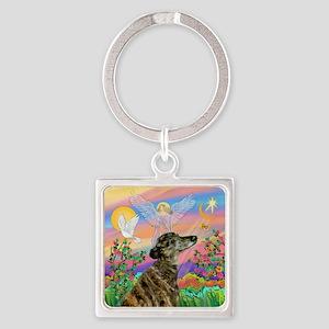 Guardian 1-Brindle Greyhound Square Keychain