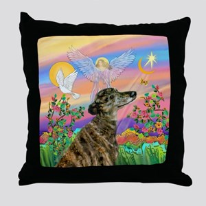 Guardian 1-Brindle Greyhound Throw Pillow