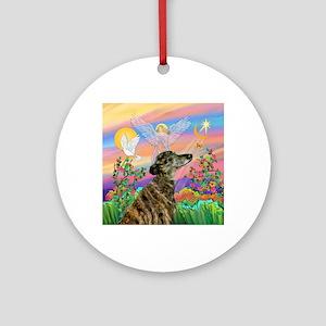 Guardian 1-Brindle Greyhound Round Ornament