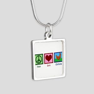 Peace Love Chickens Silver Square Necklace