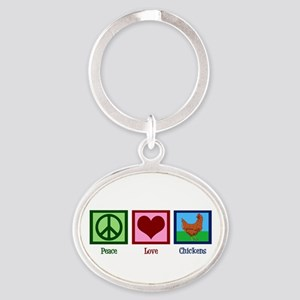 Peace Love Chickens Oval Keychain